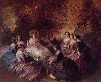 The Empress Eugenie Surrounded by her Ladies in Waiting, 1855, winterhalter