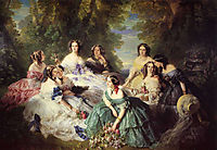 Empress Eugenie, Surrounded by her Ladies-in-Waiting, 1855, winterhalter