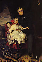 Portrait of the Prince de Wagram and his daughter Malcy Louise Caroline Frederique Napoléon Alexandre Berthier, 1837, winterhalter
