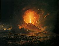 An Eruption of Vesuvius, seen from Portici, c.1776, wright