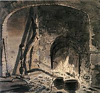 An Open Hearth with a Fire, c.1770, wright