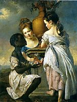 A Conversation between Girls, or Two Girls with their Black Servant, 1770, wright
