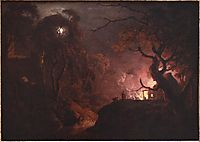 Cottage on Fire at Night, wright