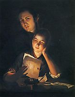 A Girl reading a letter by Candlelight, with a Young Man peering over her shoulder, 1762, wright