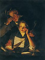 A Girl reading a Letter, with an Old Man reading over her shoulder, c.1770, wright