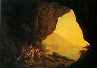 A Grotto in the Kingdom of Naples, with Banditti, 1778, wright