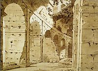 Inside the Arcade of the Colosseum, c.1775, wright