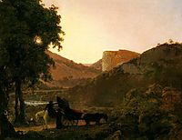Landscape with Figures and a Tilted Cart, Matlock Hogh Tor in the Distance, c.1790, wright