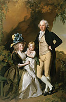 Portrait of Richard Arkwright Junior with his Wife Mary and Daughter Anne, 1790, wright
