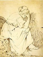 Study of Melancholy Girl, 1775, wright