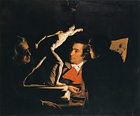 Three Persons Viewing the Gladiator by Candlelight, 1765, wright