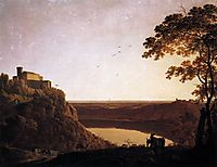 View of the Lake of Nemi, 1795, wright