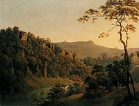 View in Matlock Dale, Looking Towards Black Rock Escarpment, c.1785, wright