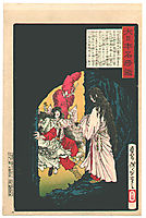 Amaterasu Ōmikami appearing from the cave, 1882, yoshitoshi