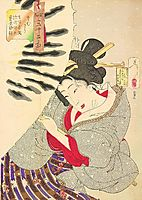 Looking cold - The appearance of a-Fukagawa-Nakamichi-Geisha-of-the-Tempo-era, yoshitoshi