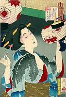 Looking capable - The Appearance of a Kyoto Waitress in the Meiji era, yoshitoshi