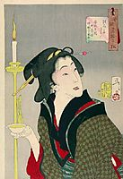 Looking thirsty - The Appearance of a Town Geisha, a Bargirl in the Ansei Era, yoshitoshi