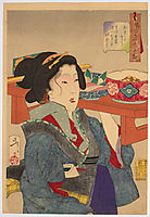 Looking weighed-down - The appearance of a waitress at Fukagawa in the Tempo era, yoshitoshi