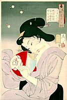 Delighted- The Appearance of a Geisha Today, during the Meiji Era, 1888, yoshitoshi