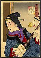 Looking as if she is enjoying herself - a teacher of the Keisei era, 1888, yoshitoshi