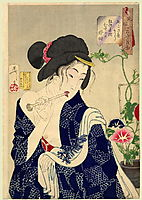 Looking as if she is waking up - The appearance of a maiden of the Koka era, 1888, yoshitoshi