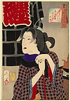 Looking as if somebody is about to arrive - The appearance of a fireman's wife in the Kaei era, 1888, yoshitoshi
