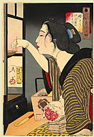 Looking dark - The appearance of a wife during the Meiji era, 1888, yoshitoshi