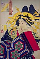 Looking feminine - The appearance of a 'castle-toppler' of the Tempo era, 1888, yoshitoshi