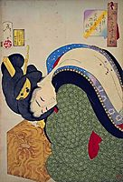 Looking hot - The appearance of a housewife in the Bunsei era, 1888, yoshitoshi