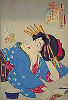 Looking relaxed - The appearance of a Kyoto geisha of the Kansei era, 1888, yoshitoshi