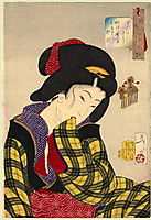 Looking shy - The appearance of a young girl of the Meiji era, 1888, yoshitoshi