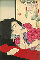 Looking sleepy - The appearance of a courtesan of the Meiji era, 1888, yoshitoshi