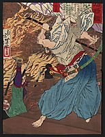 Oda Nobunaga fighting with another warrior whom he knocks off a building into a raging inferno, 1880, yoshitoshi