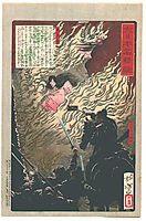Princess Saohime dies in her brother-s castle, yoshitoshi