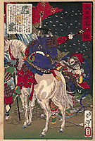 A print depicting Sakanoue no Tamuraro, commanding in the middle of battle, 1876, yoshitoshi