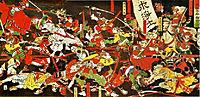 Tokugawa with help from the Jodo monks of the Daijuji temple in Okizaki, defeats the Ikkō ikki at the battle of Azukizaka, yoshitoshi