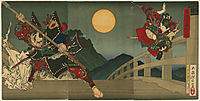 Ushiwaka and Benkei duelling on Gojo Bridge, yoshitoshi