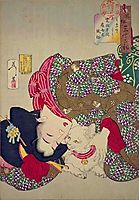 A young woman from Kansei period playing with her cat, 1888, yoshitoshi