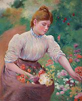 Girl picking flowers, zandomeneghi