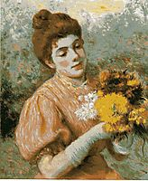 Woman with bouquet, zandomeneghi