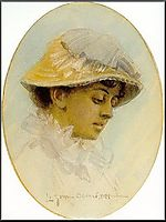 Emma Lamm in a straw hat, 1881, zorn