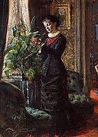Portrait of Fru Lisen Samson, nee Hirsch, Arranging Flowers at a Window, 1881, zorn
