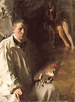 Self-portrait with a model, 1896, zorn