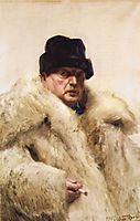 Self-portrait in a wolfskin, 1915, zorn